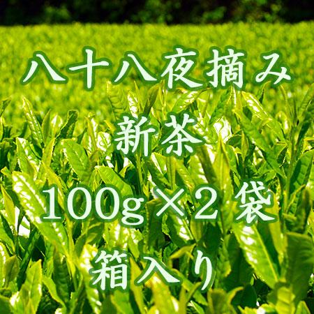 八十八夜摘み新茶 予約販売 静岡県菊川市自家農園直送 100g×2袋 箱入